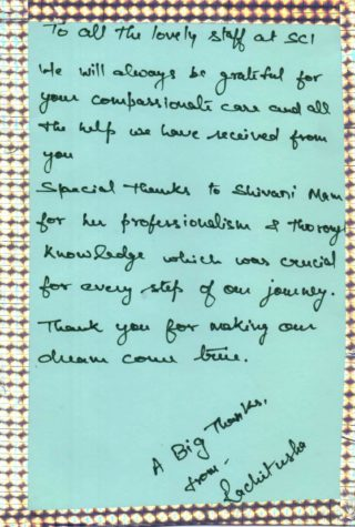 Thank you card to dr shivani